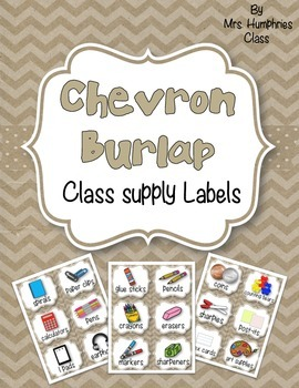 SUPPLY LABELS  - Chevron Burlap