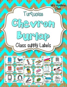 SUPPLY LABELS  Chevron Burlap Turquoise