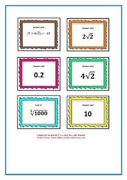 SURD rationalisation task cards and memory game (Extension Year 10)
