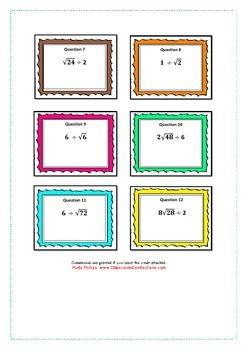 SURD rationalisation task cards and memory game for a mixe