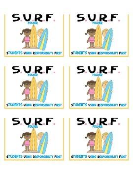 Beach them ***  SURF ***  Student Organization Folder Stickers