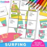 SURFING EDITABLE Worksheets | Secret Picture Tiles