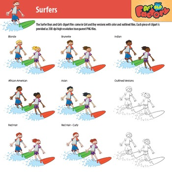 SURFING KIDS Clipart Package