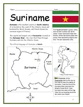 SURINAME - Printable handouts with map and flag to color