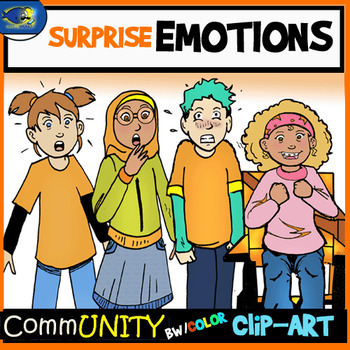 SURPRISED Emotions CommUNITY Clip-Art Bundle-8 Pieces BW/Color