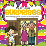 SURPRISES Theme LIteracy and Math Centers and Activities for Preschool