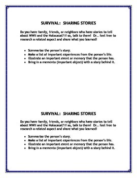 SURVIVAL THEME SHARING STORIES