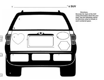 SUV Car Graphic Activity for Formative or Summative Assessment