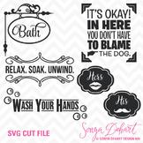 SVG Cuts and Bathroom Sayings Clip Art Silhouette Cricut C