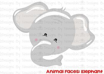 SVG, DXF, Pdf, Studio3 Cut file CF1 Animal Faces Elephant