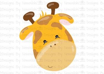 SVG, DXF, Pdf, Studio3 Cut file CF5 Animal Faces Giraffe