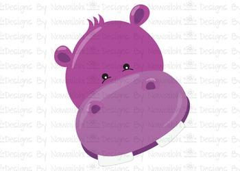 SVG, DXF, Pdf, Studio3 Cut file CF7 Animal Faces Hippo