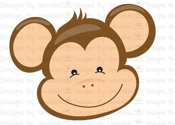 SVG, DXF, Pdf, Studio3 Cut file CF2 Animal Faces Monkey