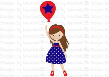 SVG, DXF, Pdf, Studio3 Cut file CF11 Independence Day Girl with Balloon