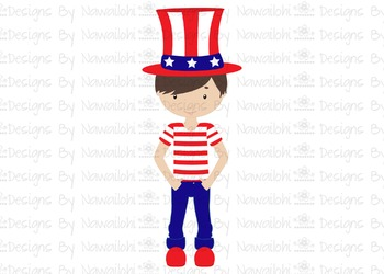SVG, DXF, Pdf, Studio3 Cut file CF12 Independence Day Boy with Hat