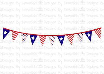 SVG, DXF, Pdf, Studio3 Cut file CF13 Independence Day Bunting Banner