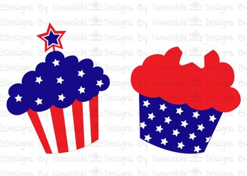 SVG, DXF, Pdf, Studio3 Cut file CF14 Independence Day Cupcakes