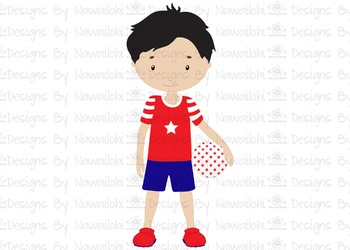 SVG, DXF, Pdf, Studio3 Cut file CF16 Independence Day Boy with Ball