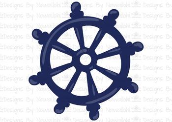 SVG, DXF, Pdf, Studio3 Cut file CF17 Nautical Wheel
