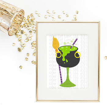 SVG, DXF, Pdf, Studio3 Cut file CF53 Halloween Cocktail