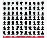 SVG  Heads Aavatars, Silhouettes digital clipart