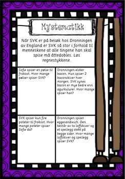 DEL 2 - SVK - Store Vennlige Kjempe arbeidsark, med og uten farger, Roald Dahl