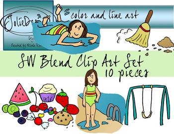 SW Blend Phonics Clip Art Set - Color and Line Art 10 pc set