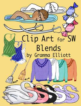 SW Blends Clip Art 300dpi  PNG Color and Black Line