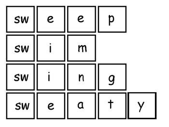 SW & PR Digraph Spelling Task Card