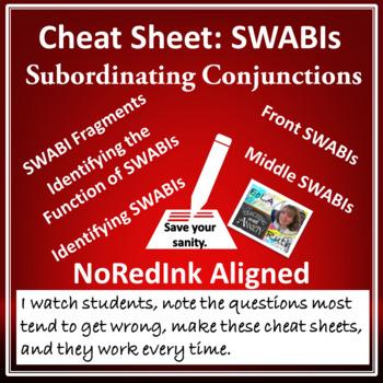 Cheat Sheet: SWABIs (subordinating conjunctions) | NoRedInk aligned