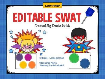 SWAT! Blank, Editable Activity / Game