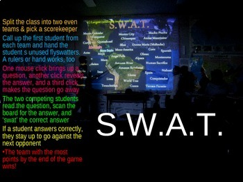 SWAT GEOGRAPHY REVIEW GAME 2 - North American Geography (20 questions)