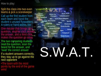 SWAT GEOGRAPHY REVIEW GAME 20 - World Countries (20 questions)