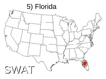 SWAT GEOGRAPHY REVIEW GAME 5 - U.S. States locations (20 questions)