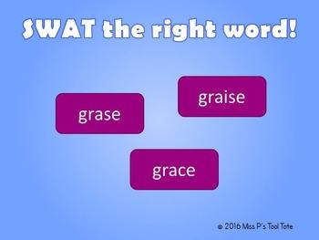 SWAT!  (S spelled s, se, ce)