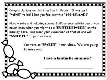 SWEEET! End of Year Student Goodbye Note
