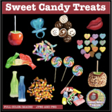 SWEET CANDY TREATS CLIPART, STICKERS, GUMMI WORMS, CANDY C
