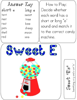 SWEET E's File Folder Phonics Game- short/long E reading