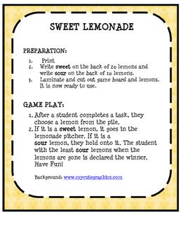 OPEN ENDED GAME- SWEET LEMONADE