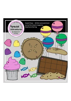 SWEET SHOP GRAPHICS CLIPART CUPCAKE BROWNIE CANDY SUCKER COOKIE
