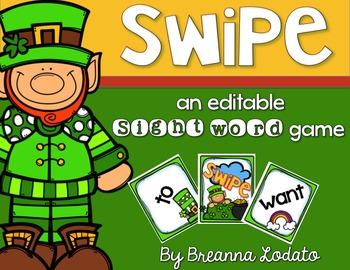 SWIPE: an editable St Patricks Day sight word game