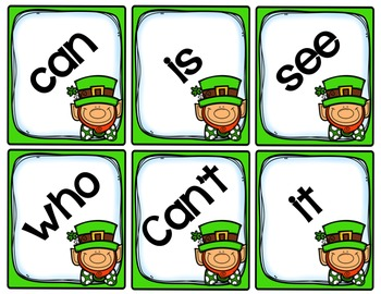 SWIPE: an editable St Patricks Day sight word game
