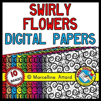 SWIRLY FLOWERS CLIPART DOODLE DIGITAL PAPER BACKGROUNDS TEXTURED