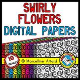 DIGITAL PAPER: SWIRLY FLOWERS DIGITAL PAPERS
