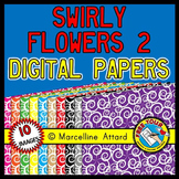 SWIRLY FLOWERS DIGITAL PAPER BACKGROUNDS TEXTURED RAINBOW CLIPART