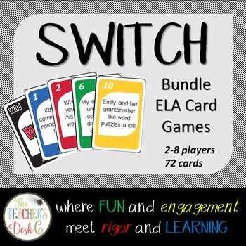 SWITCH Card Game BUNDLE Sent. Structure, Verbs, Kind of Sentence, Prep. Phrases