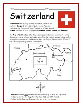 SWITZERLAND - Printable handout with map and flag