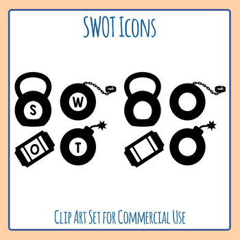 SWOT Icons - Strengths, Weaknesses, Opportunities, and Threats Icons Clip Art