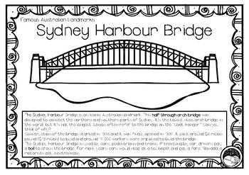 SYDNEY HARBOUR BRIDGE (an Australian landmark) 1 pg info and coloring sheet