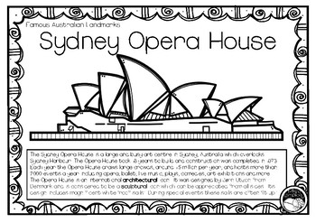 SYDNEY OPERA HOUSE An Australian Landmark 1 Pg Information And Coloring Sheet